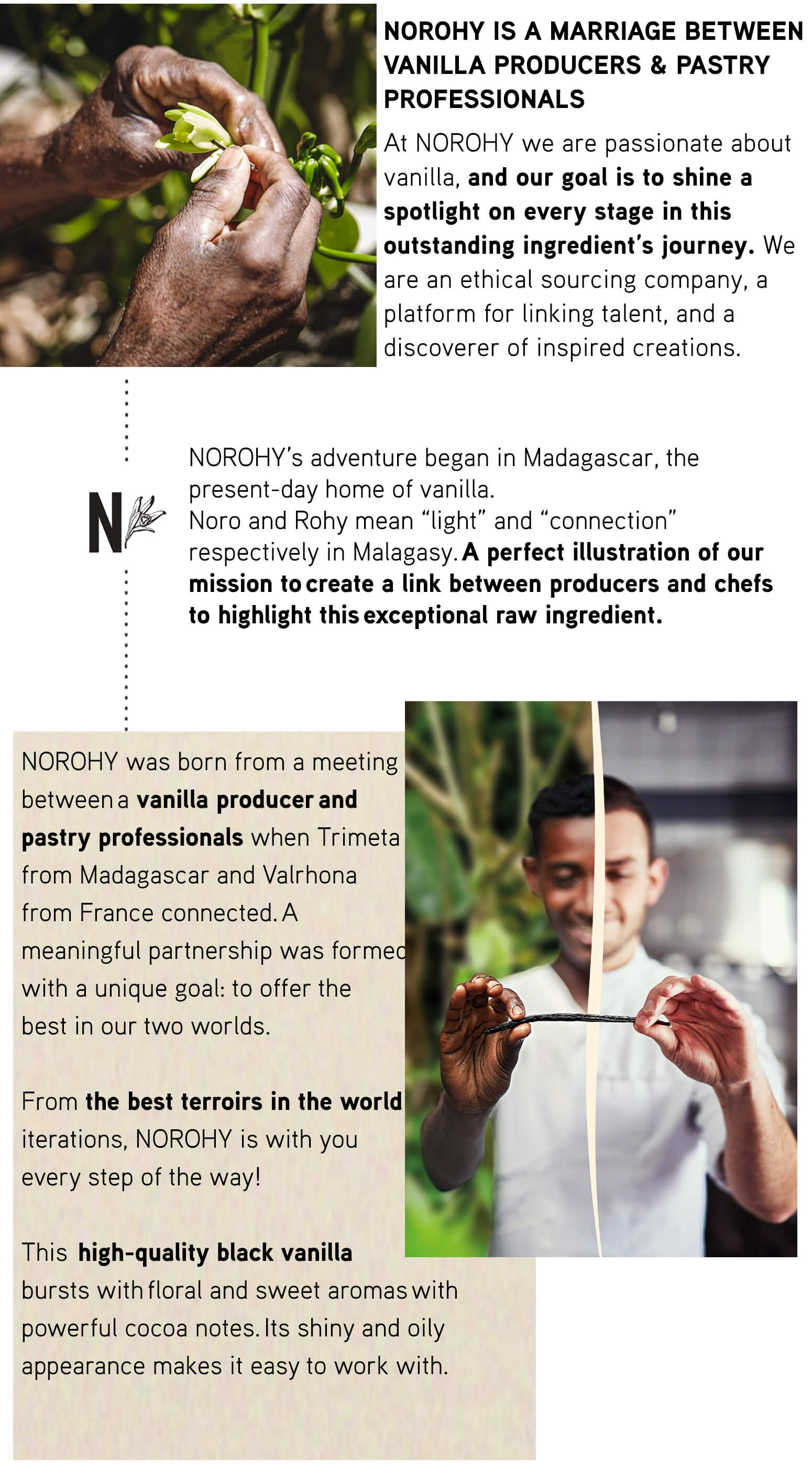 NOROHY IS A MARRIAGE BETWEEN VANILLA PRODUCERS & PASTRY PROFESSIONALS At NOROHY we are passionate about vanilla, and our goal is to shine a spotlight on every stage in this outstanding ingredient's journey. We are an ethical sourcing company, a platform for linking talent, and a discoverer of inspired creations.