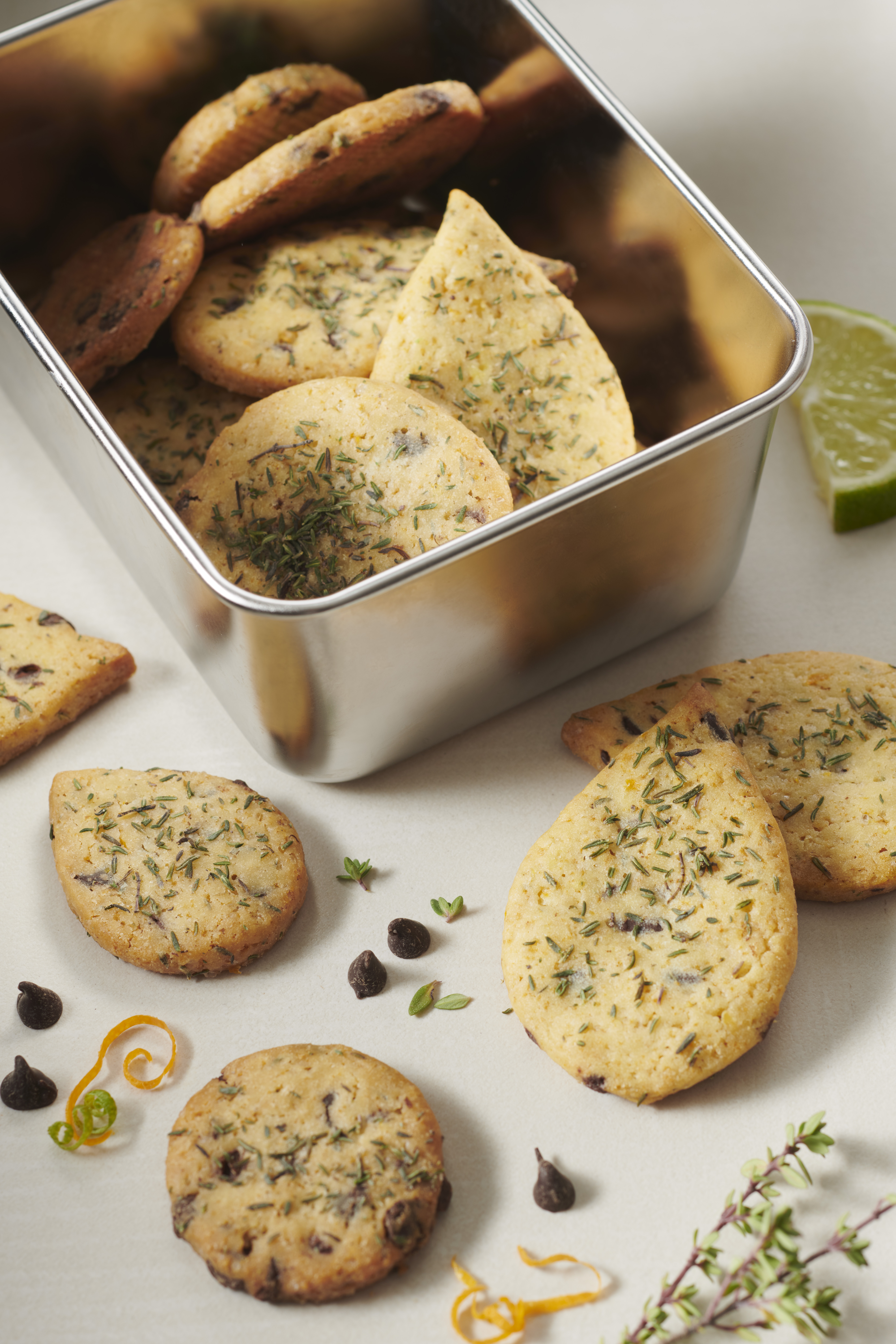 Citrus, thyme and chocolate chip cookies