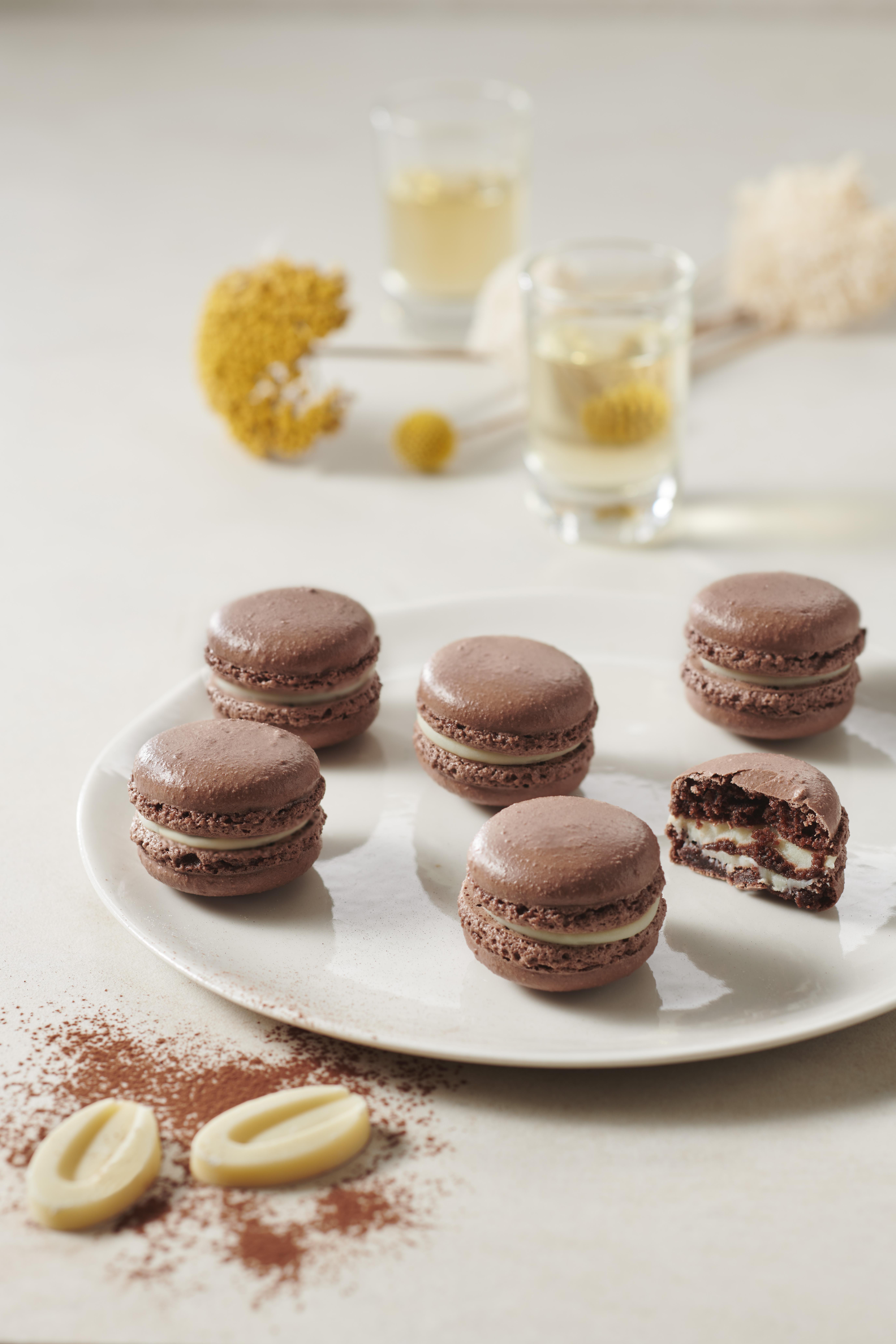 Chocolate Yuzu Macarons