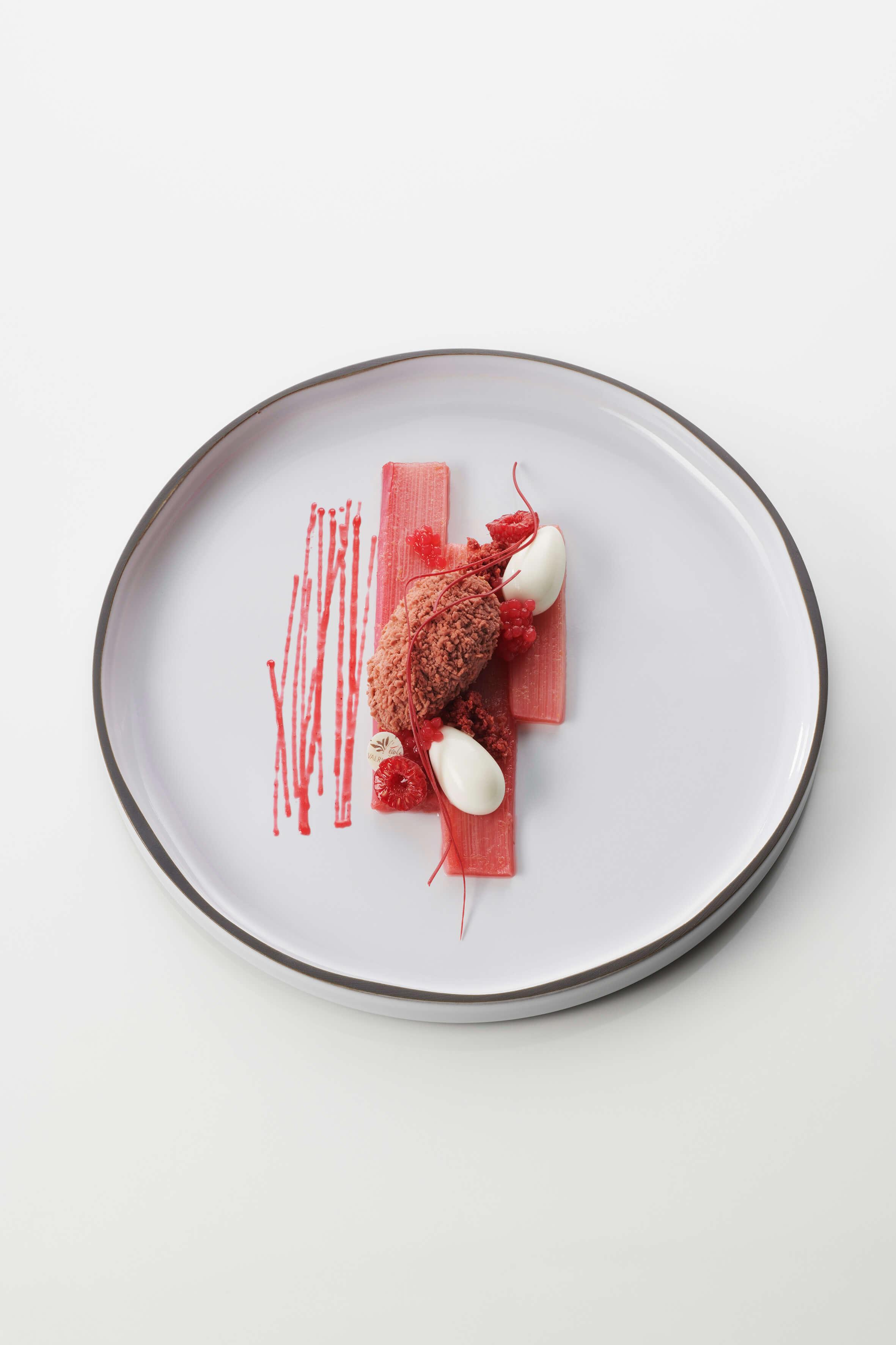 Pink Rhubarb Plated Dessert Recipe