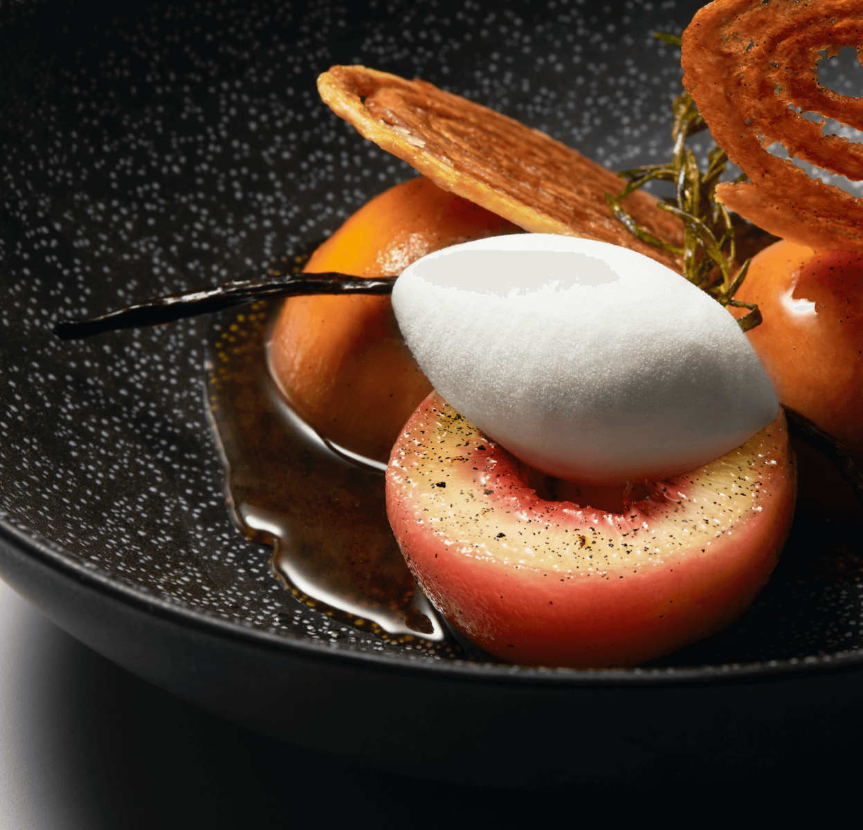 Norohy Roasted Peaches with Sweet Almond Ice Cream Recipe