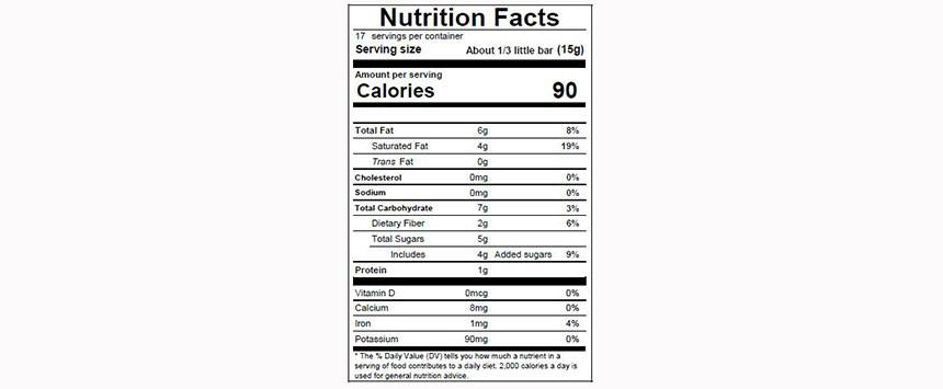 GUANAJA 70% Nutritional Facts